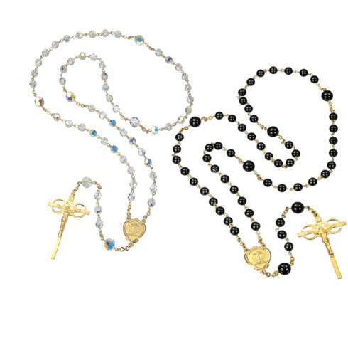 HMH Religious Gold Sterling Silver Swarovski Crystal and Onyx Bead Wedding Rosary Set
