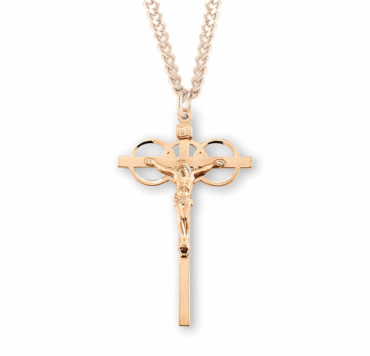 HMH Religious Gold Three Ring Wedding Marriage Crucifix Necklace