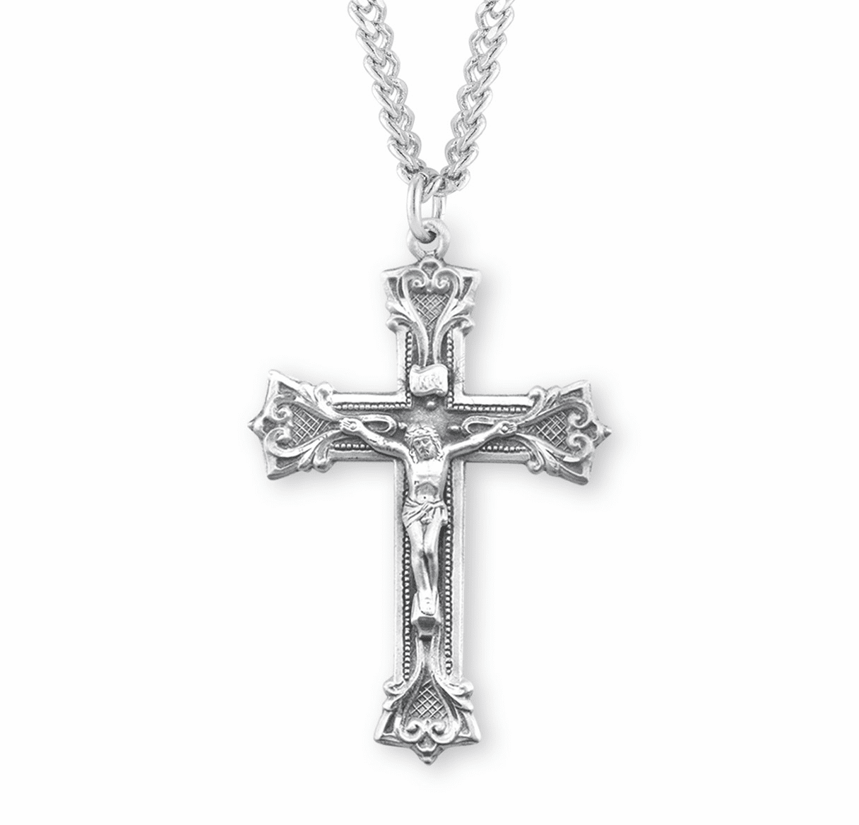 HMH Religious Gothic Scroll Style Sterling Silver Crucifix Pendant Necklace