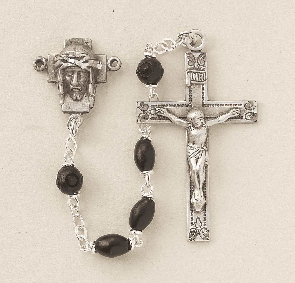 HMH Religious Head of Christ Black Coco Beads with Carved Our Father Beads Sterling Rosary