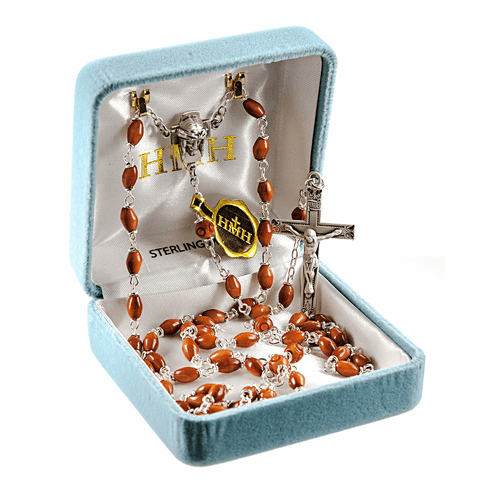 HMH Religious Head of Christ Brown Coco Beads with Carved Our Father Beads Sterling Rosary