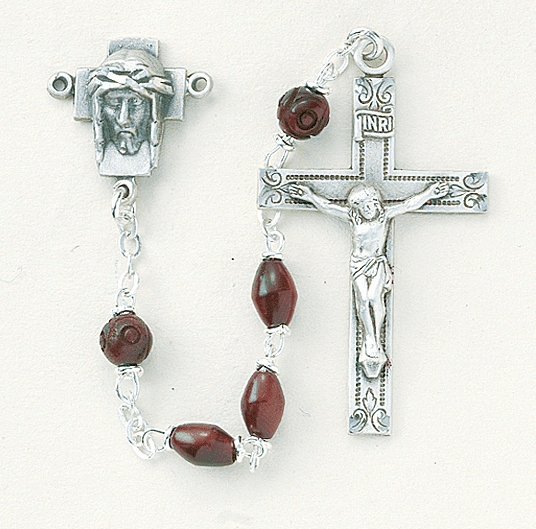 HMH Religious Head of Christ Maroon Coco Beads with Carved Our Father Beads Sterling Rosary