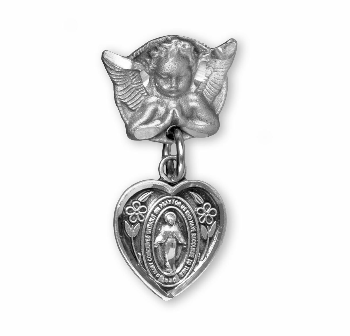 HMH Religious Heart Shaped Baby Miraculous w/Sterling Angel Pin Badge