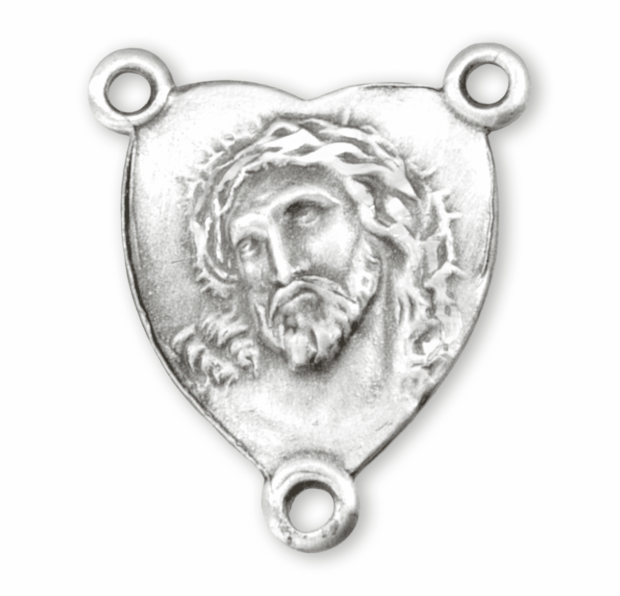 HMH Religious Heart Shaped Head of Christ Sterling Silver Rosary Center