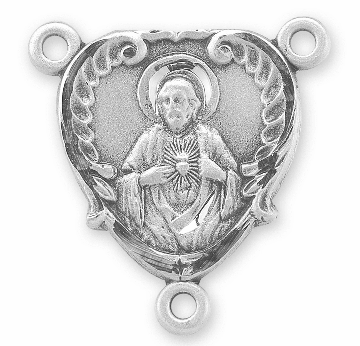 HMH Religious Heart Shaped Sacred Heart of Jesus Scapular Sterling Silver Rosary Center