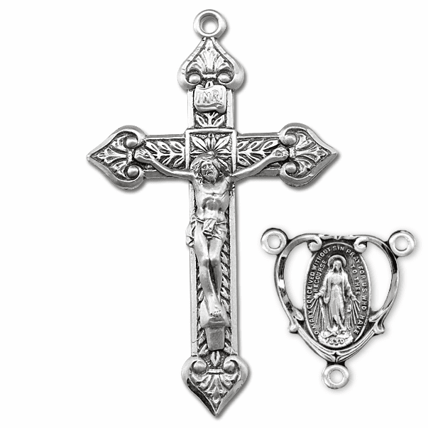 HMH Religious Heart Sterling Silver Crucifix and Centerpiece Rosary Making Set