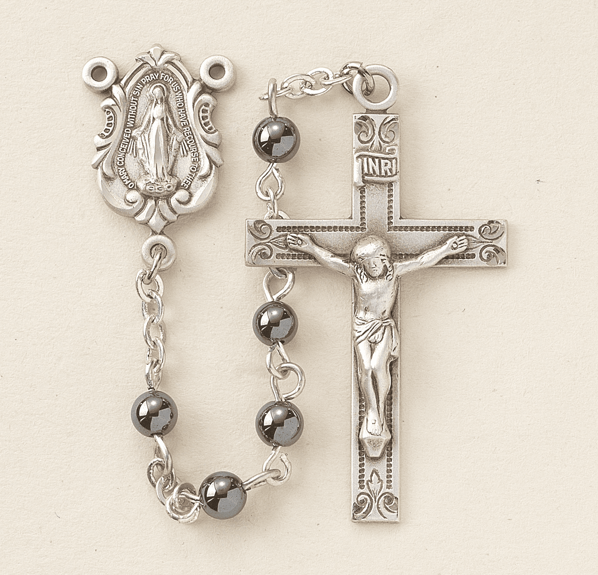 HMH Religious Hermatite Gemstone Sterling Silver Catholic Prayer Rosary