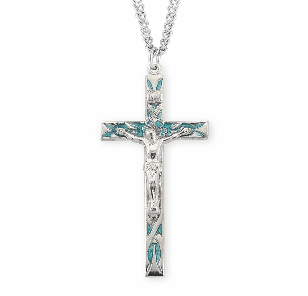 HMH Religious High Polished Blue Enameled Sterling Silver Crucifix