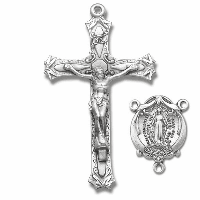 HMH Religious High Relief Crucifix and Miraculous Centerpiece Rosary Making Sets