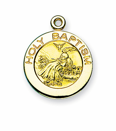 HMH Religious Holy Baptism Round Gold/Sterling Silver Pendant Necklace w/Chain