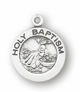 HMH Religious Holy Baptism Round Sterling Silver Pendant Necklace w/Chain