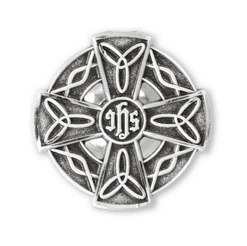 HMH Religious Irish Celtic Knots Cross Sterling Silver Lapel Pin w/Deluxe Screw