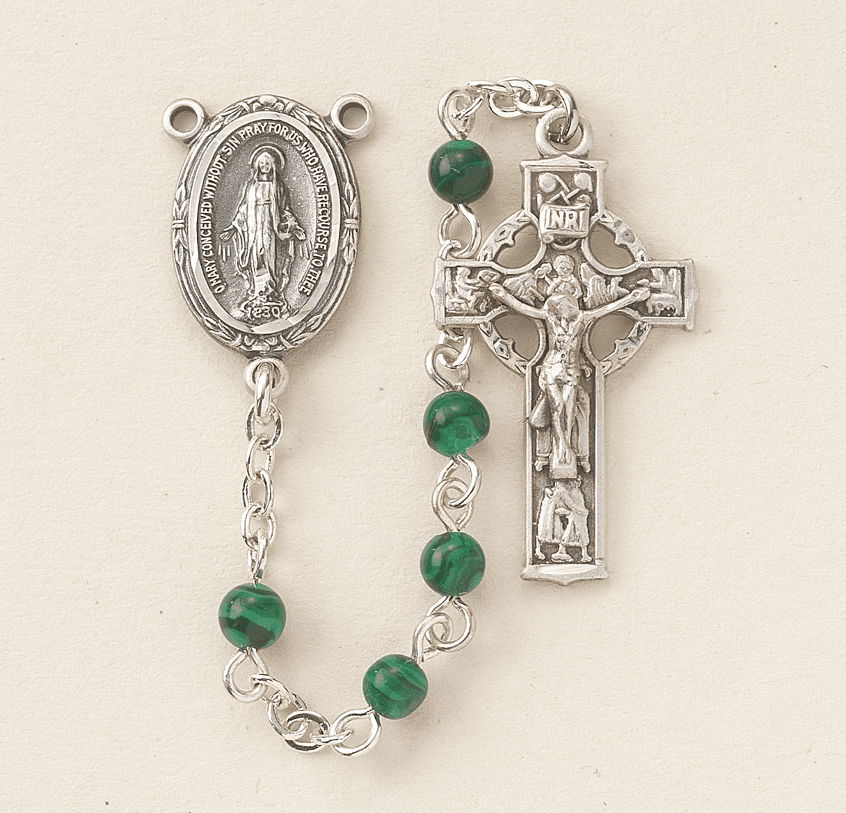 HMH Religious Irish Celtic Malachite Gemstone Catholic Prayer Rosary