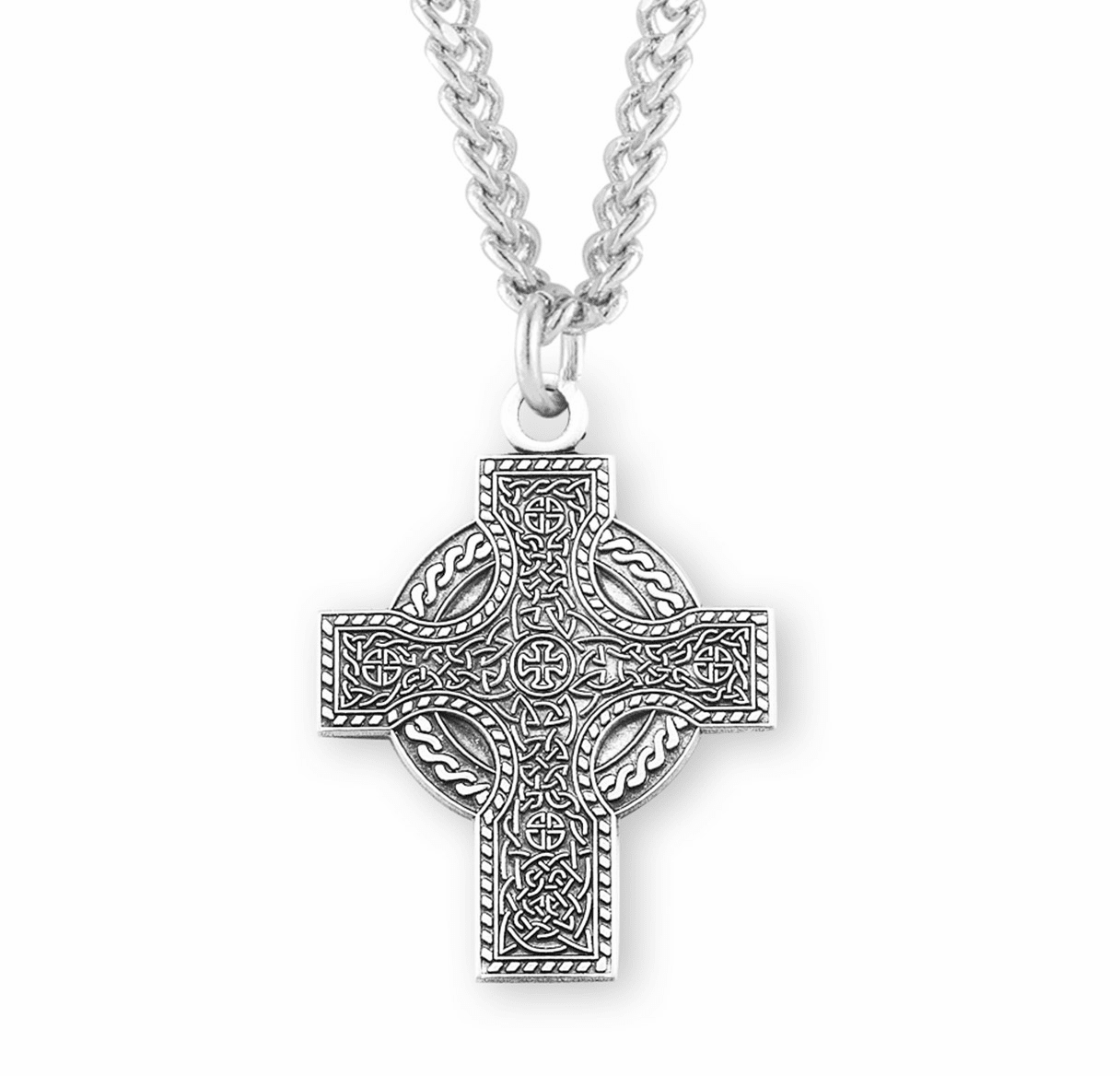 "HMH Religious Irish Sterling Silver Celtic Cross with 24"" Chain"