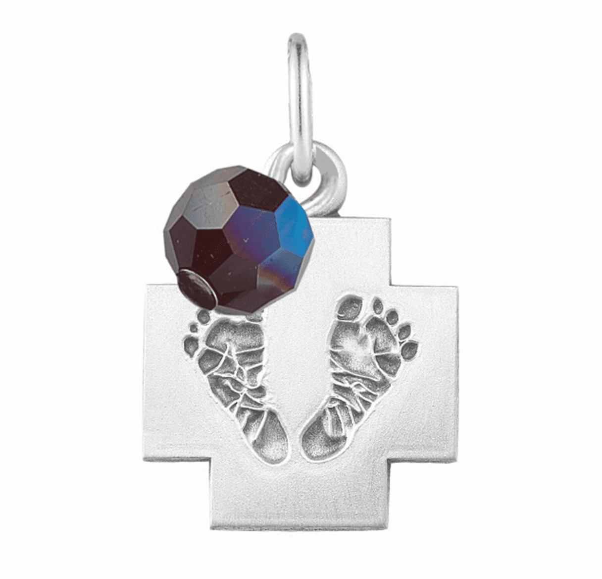 HMH Religious January Garnet Baby Foot Print Necklace