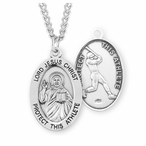 HMH Religious Jesus Christ Baseball Oval Sterling Silver Necklace