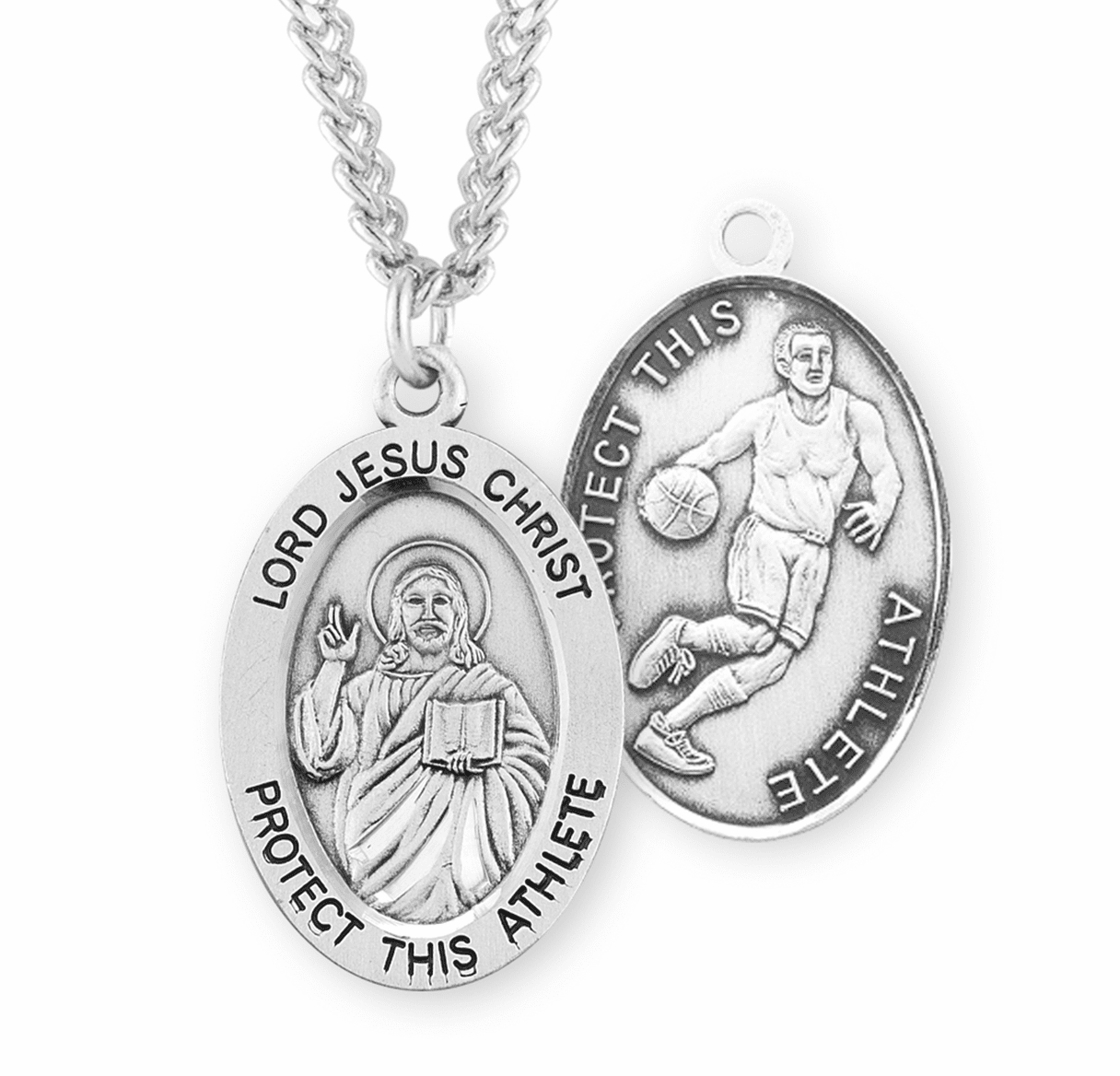 HMH Religious Jesus Christ Basketball Oval Sterling Silver Medal
