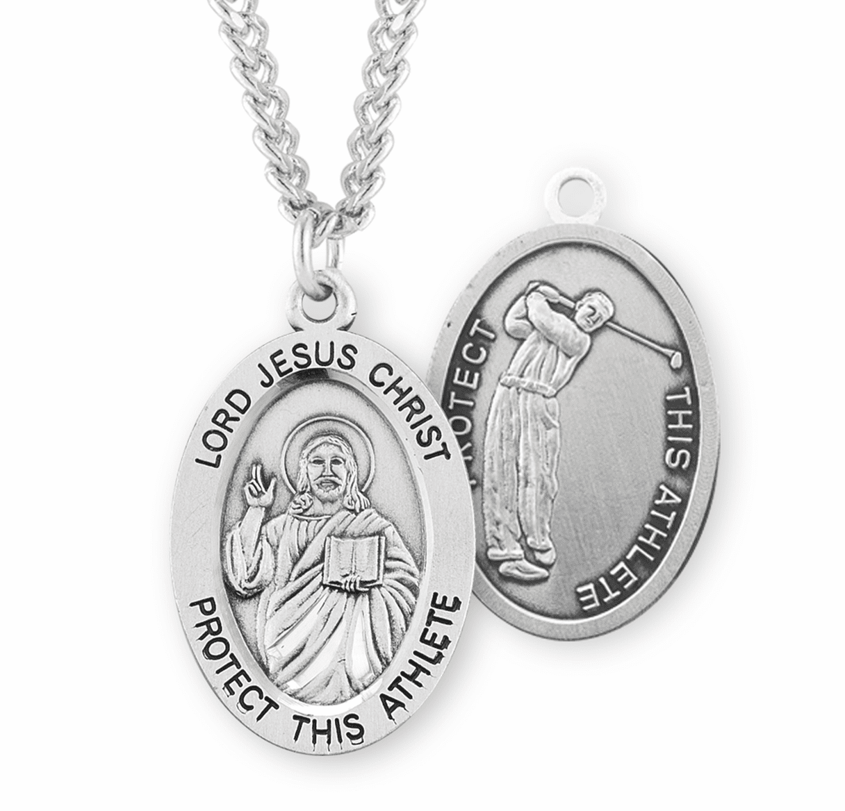 HMH Religious Jesus Christ Golf Oval Sterling Silver Sports Necklace