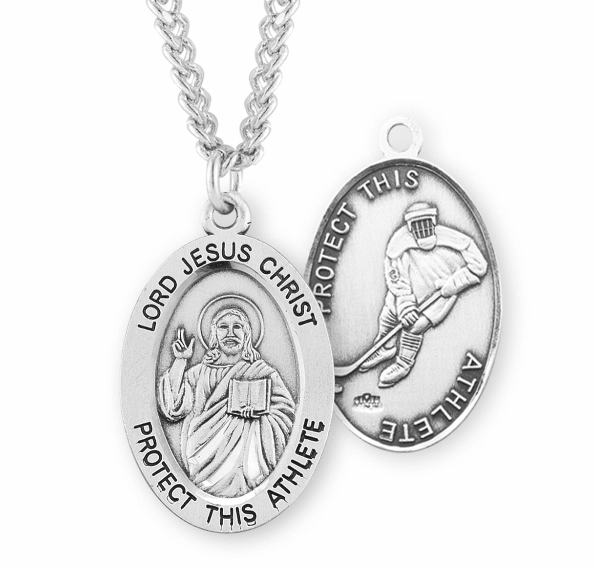 HMH Religious Jesus Christ Hockey Sports Medal Necklace