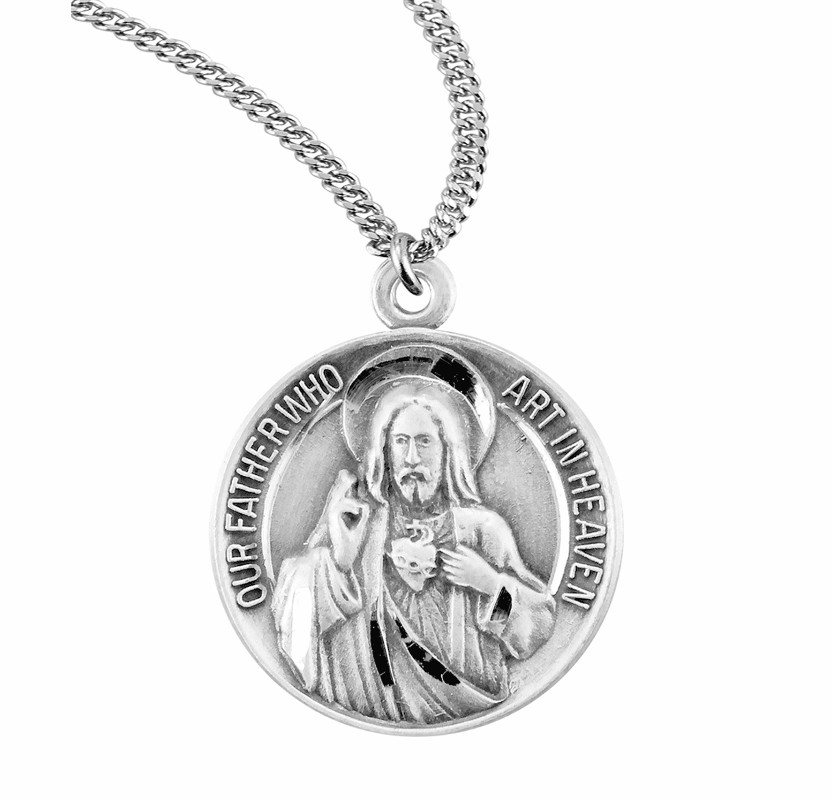 HMH Religious Jesus Christ Our Father and Hail Mary Round Sterling Silver Medal