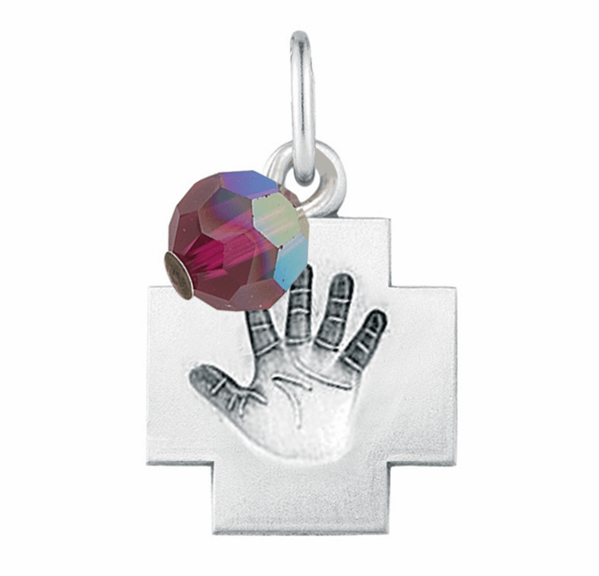 HMH Religious July Ruby Baby Hand Print Necklace