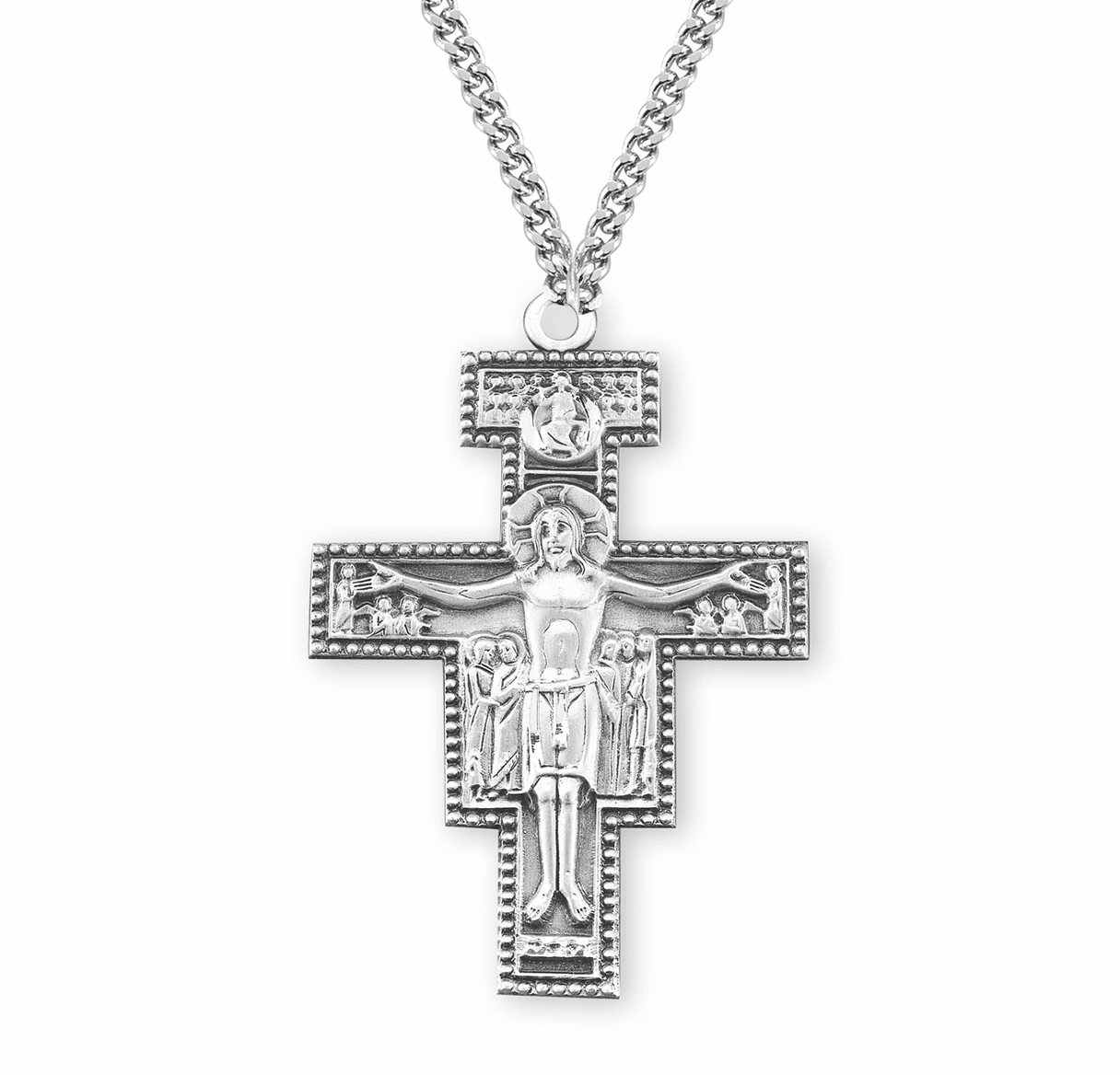 HMH Religious Large San Damiano Sterling Silver Crucifix Necklace