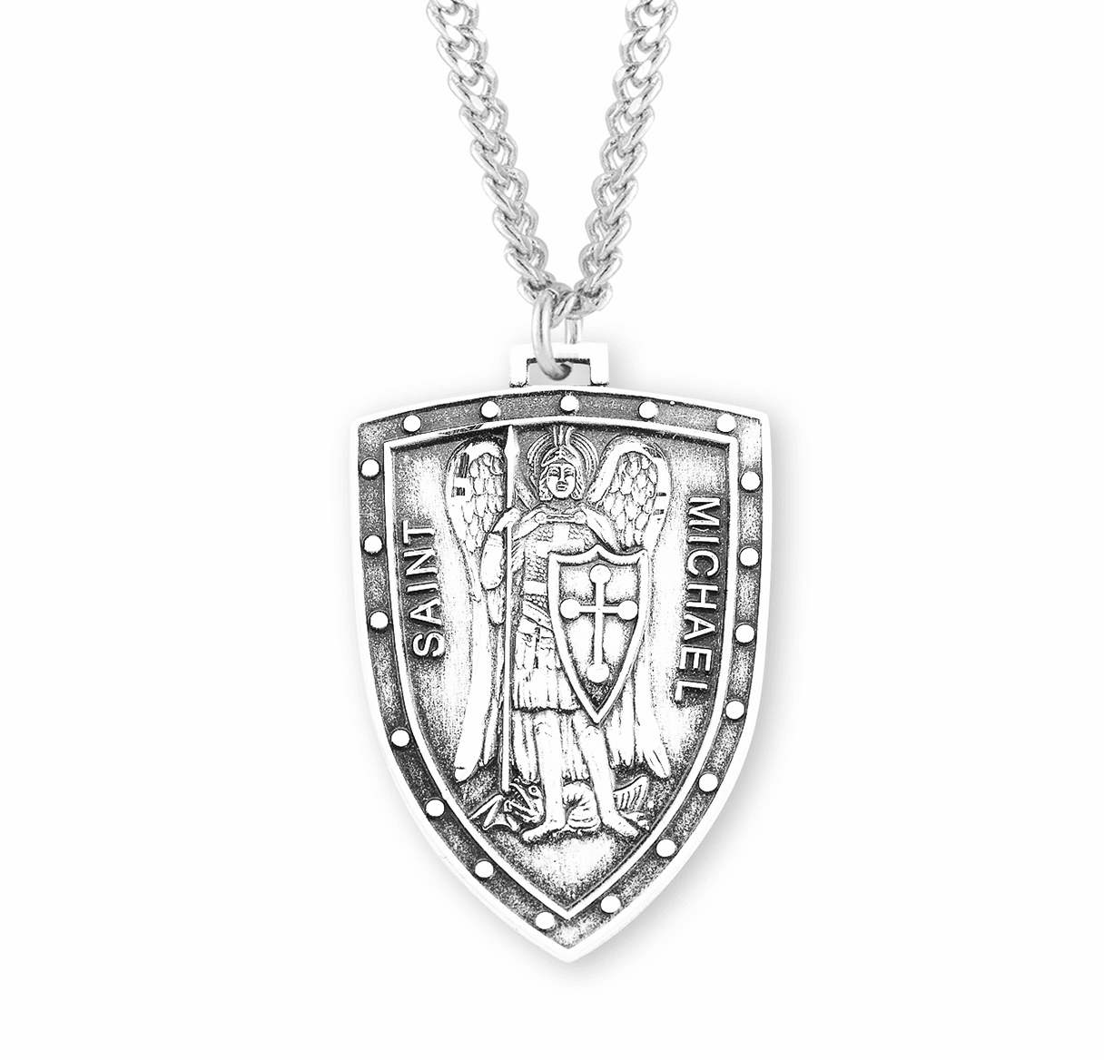 """HMH Religious Large Shield St Michael Sterling Silver Medal Necklace w/24"""" Chain"""