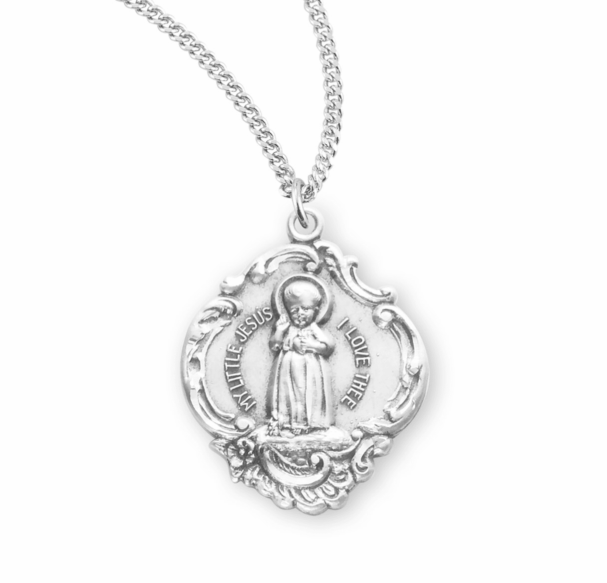 HMH Religious Large Sterling Silver Baroque Infant Jesus Necklace