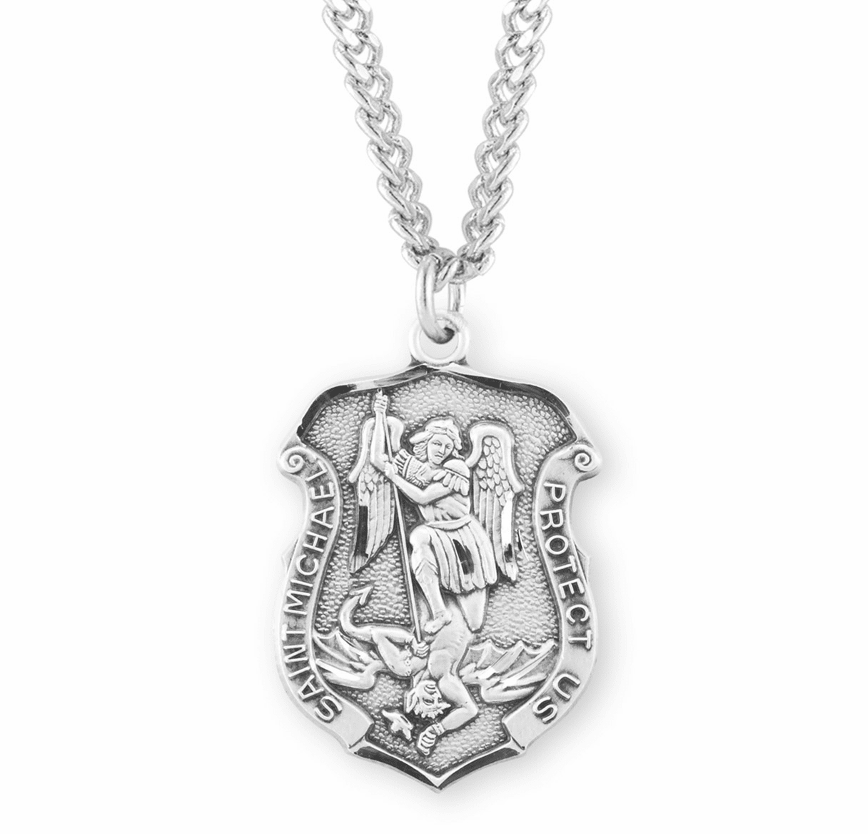 HMH Religious Large Sterling Silver St Michael Shield Medal Necklace