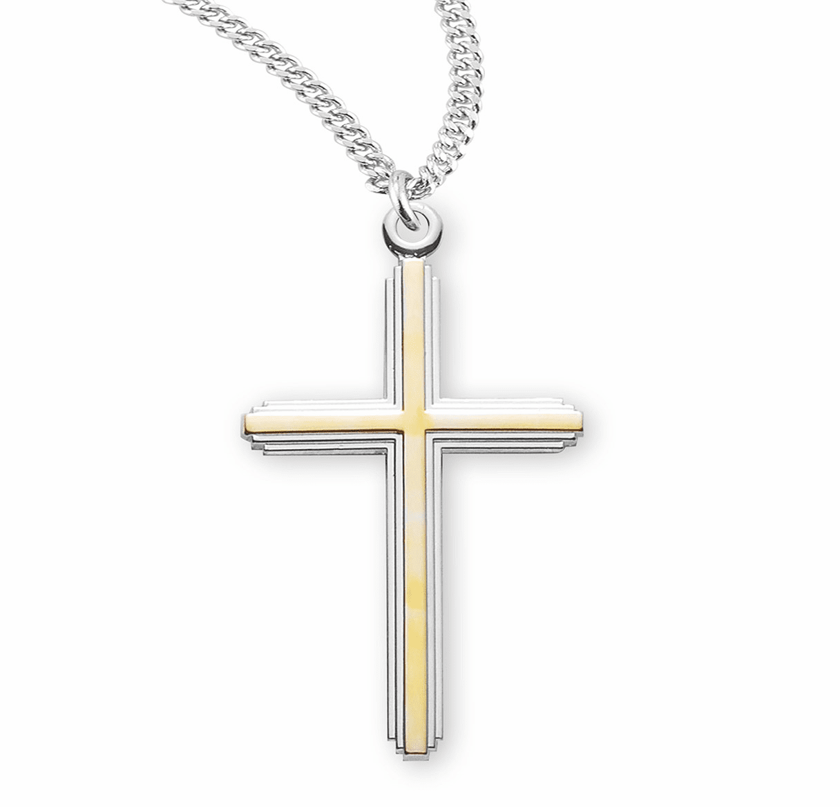 HMH Religious Large TuTone Inlayed Sterling Silver Cross Necklace