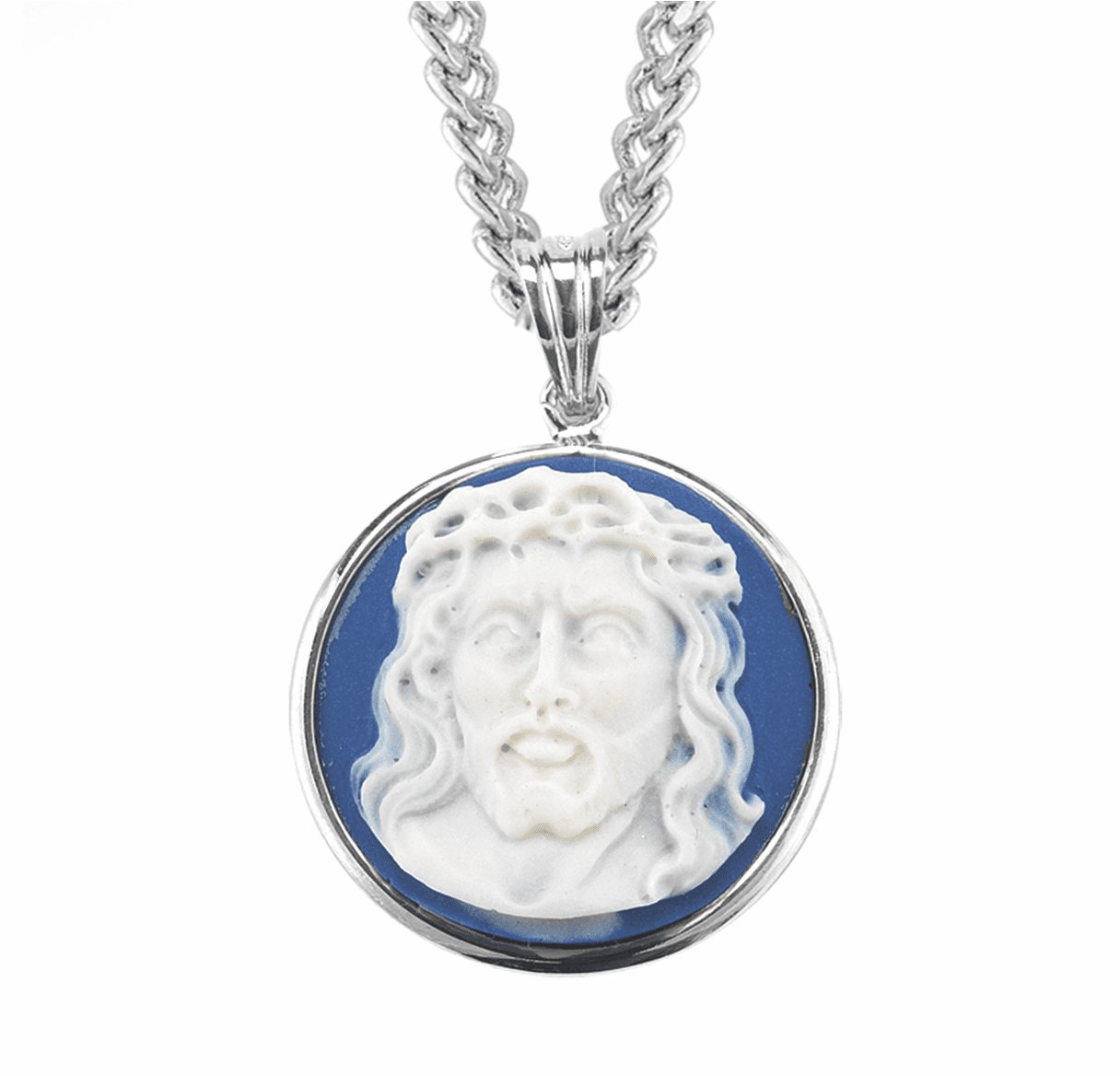 HMH Religious Light Blue Head of Christ Cameo Sterling Silver Necklace