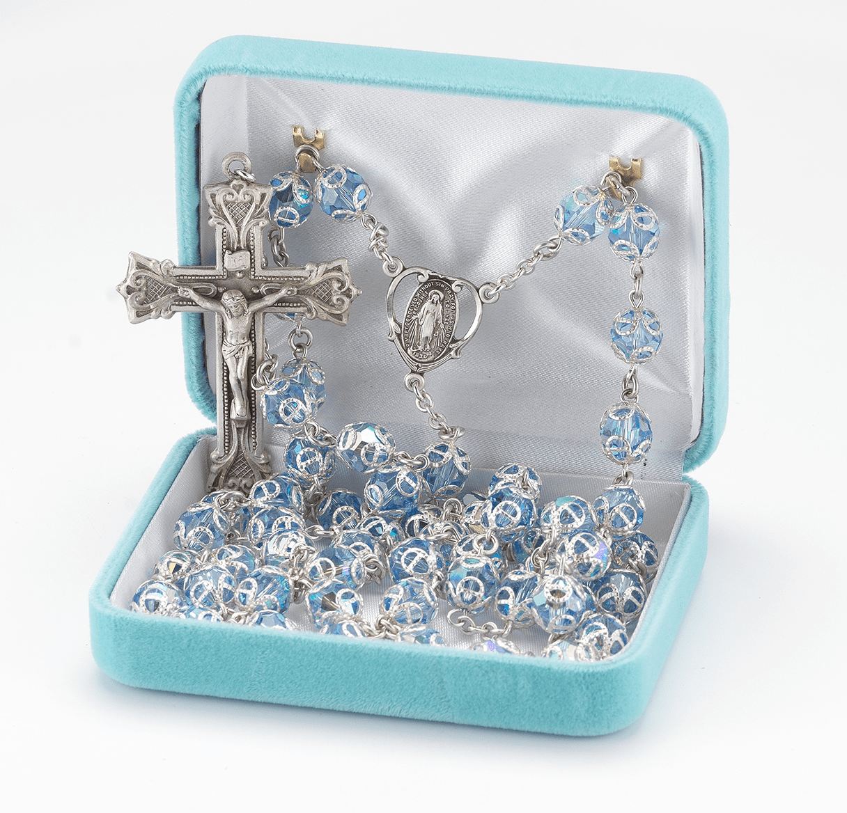 HMH Religious Lt Sapphire Double Capped Swarovski Crystal Sterling Silver Rosary