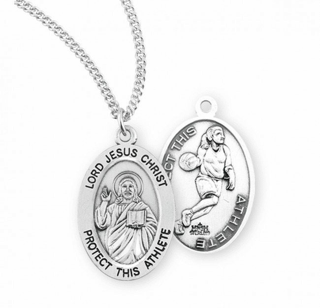 HMH Religious Lord Jesus Christ Female Basketball Sterling Silver Sports Necklace