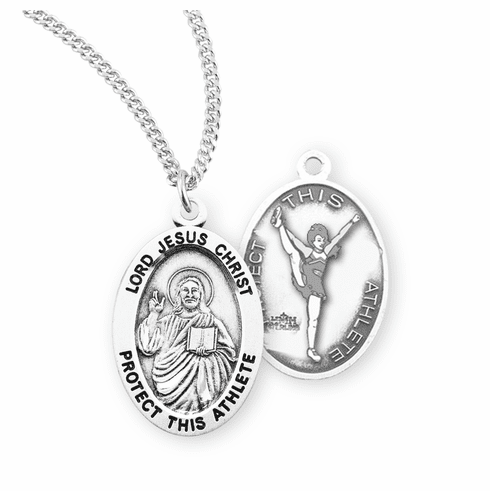 HMH Religious Lord Jesus Christ Female Cheerleading Sterling Silver Sports Necklace