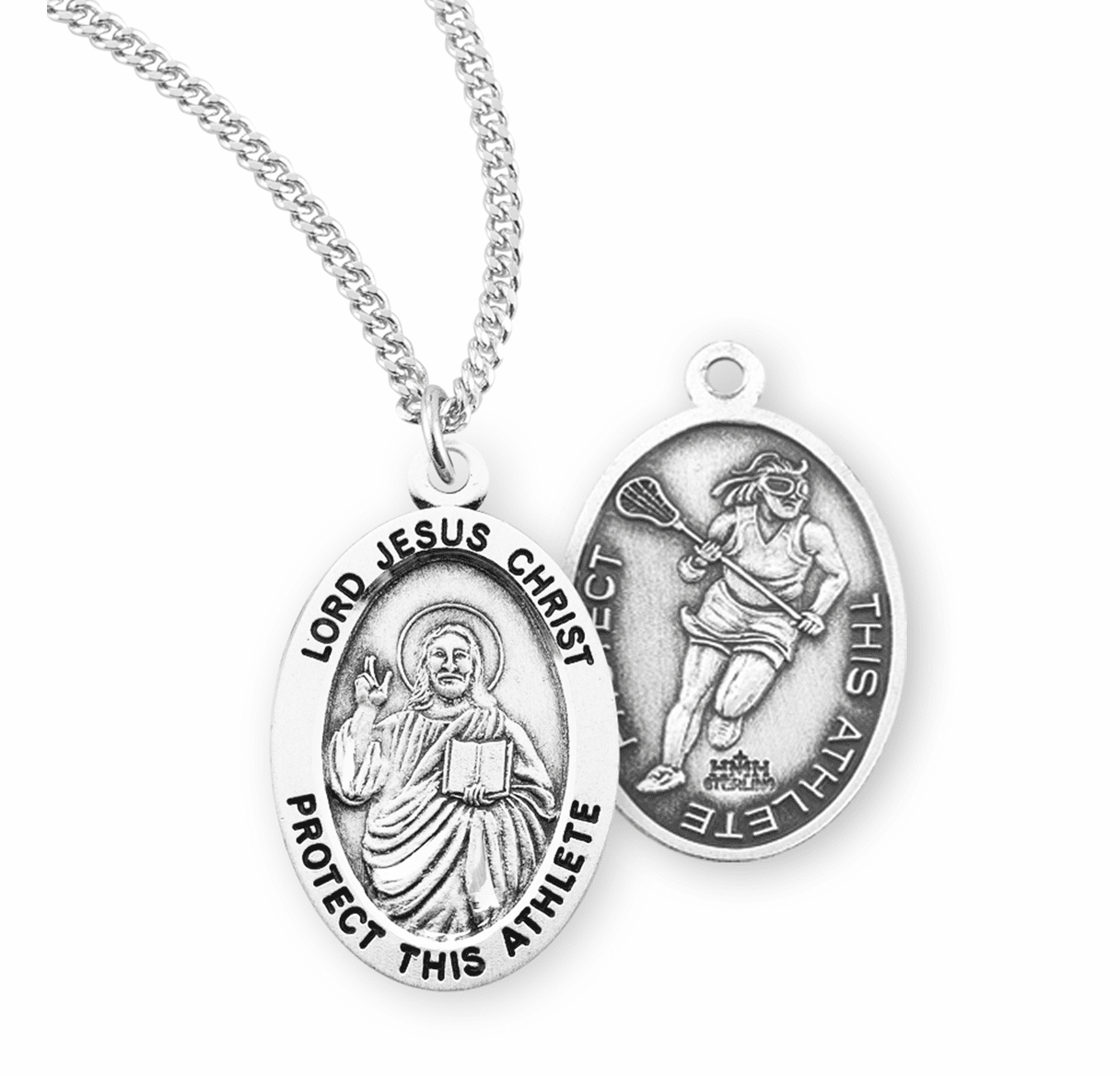 HMH Religious Lord Jesus Christ Female Lacrosse Sterling Silver Sports Necklace