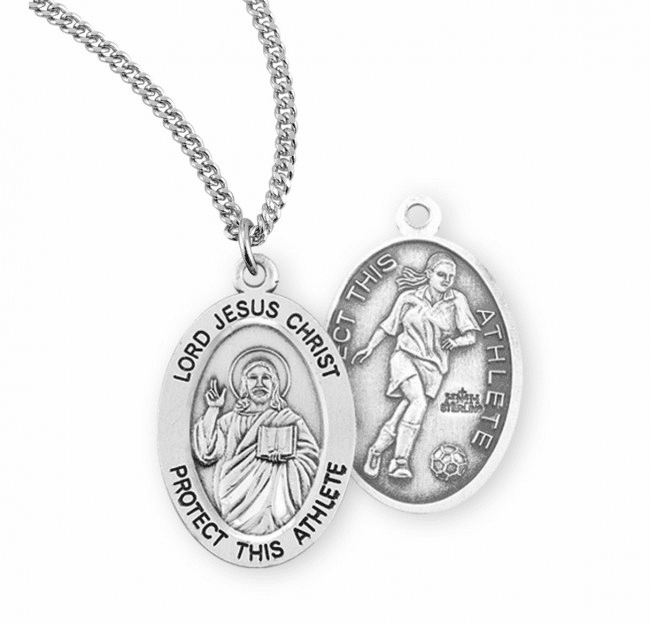HMH Religious Lord Jesus Christ Female Soccer Sterling Silver Sports Necklace