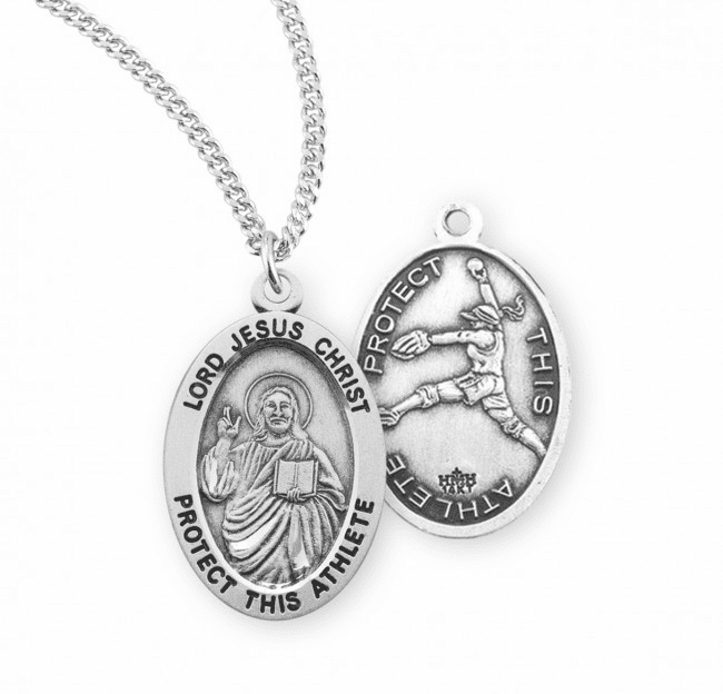 HMH Religious Lord Jesus Christ Female Softball Sterling Silver Sports Necklace