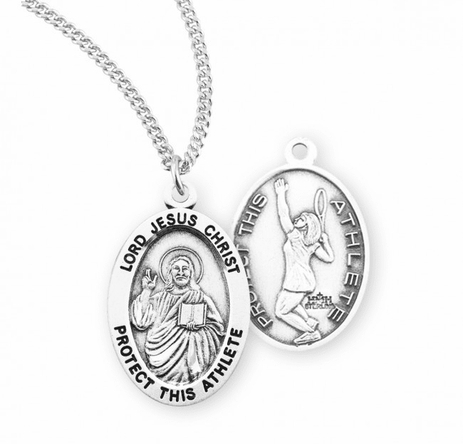 HMH Religious Lord Jesus Christ Female Tennis Sterling Silver Sports Necklace