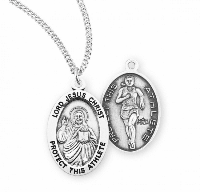 HMH Religious Lord Jesus Christ Female Track and Field Sterling Silver Sports Necklace