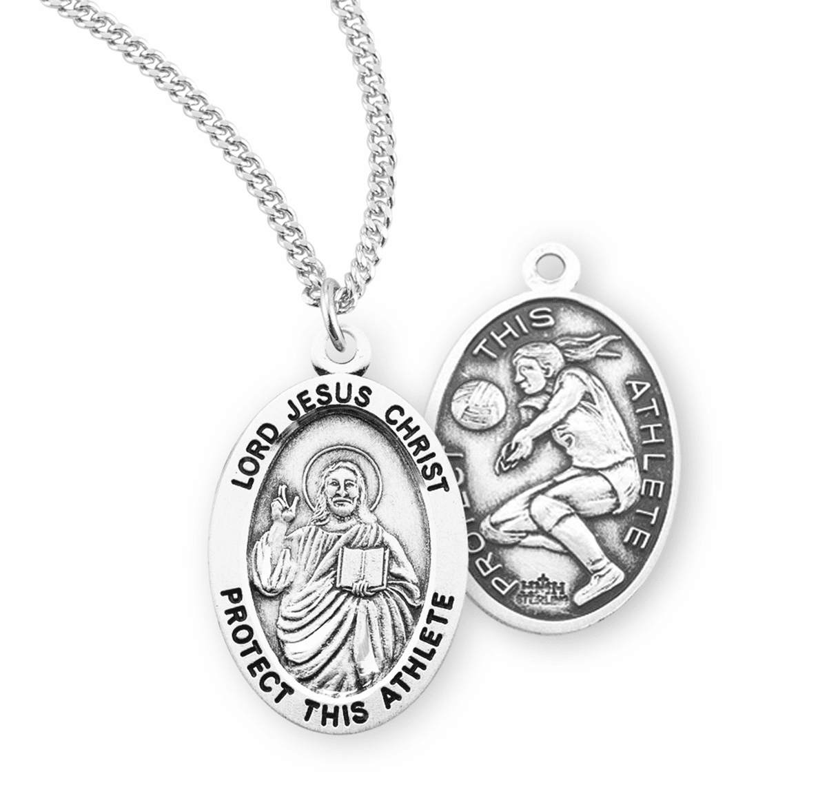 HMH Religious Lord Jesus Christ Female Volleyball Sterling Silver Sports Necklace