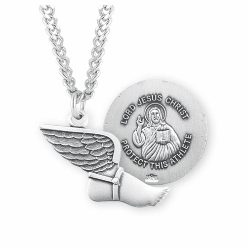 HMH Religious Lord Jesus Christ Sterling Silver Track and Field Medal Necklace