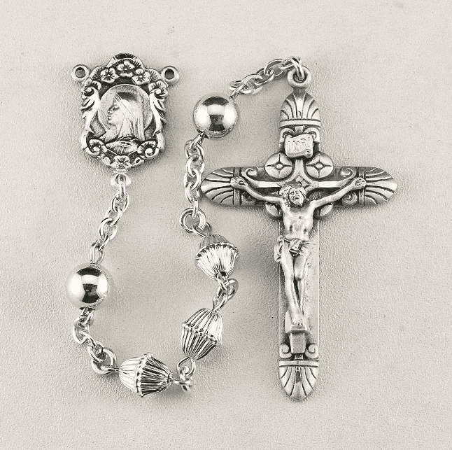 HMH Religious Madonna Bicone Corrugated Sterling Silver Bead Prayer Rosary