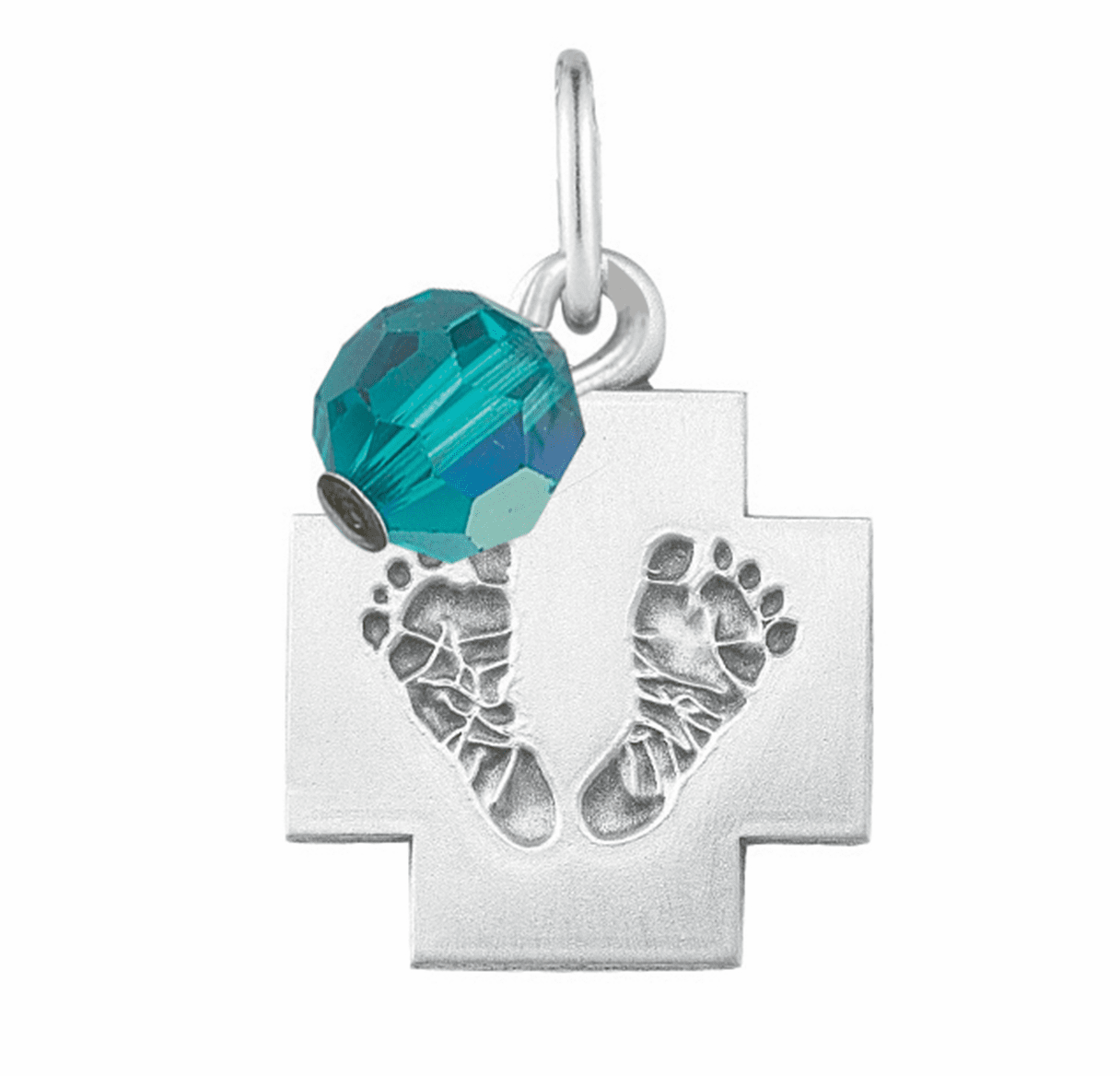 HMH Religious March Aqua Baby Foot Print Necklace