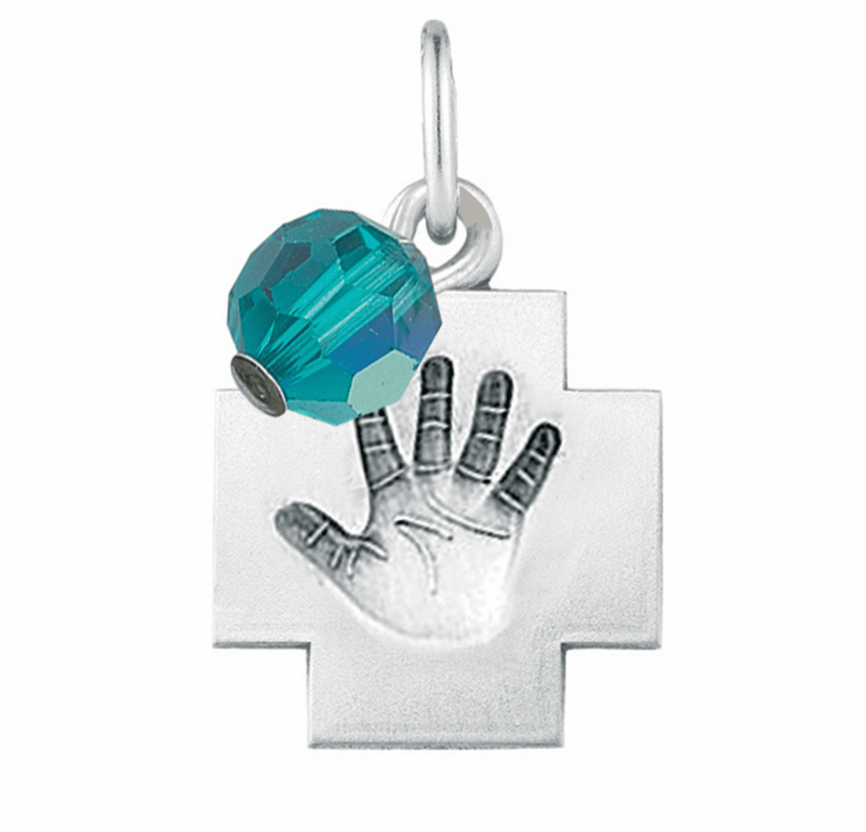 HMH Religious March Aqua Baby Hand Print Necklace