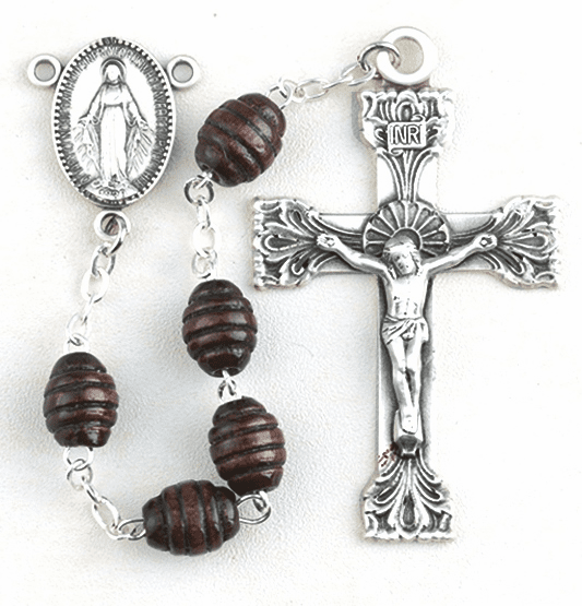 HMH Religious Maroon Beehive Carved Boxwood Miraculous Medal Catholic Rosary