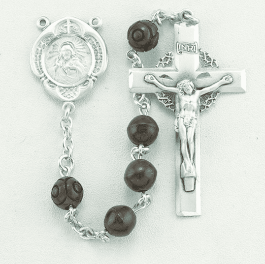 HMH Religious Maroon Coco Beads w/Carved Our Father Sterling Scapular Rosary