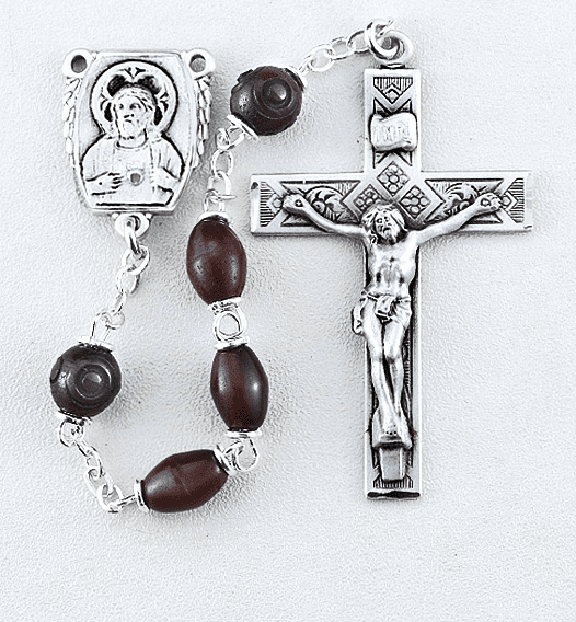 HMH Religious Maroon Coco Beads with Carved Our Father Beads Sterling Scapular Rosary