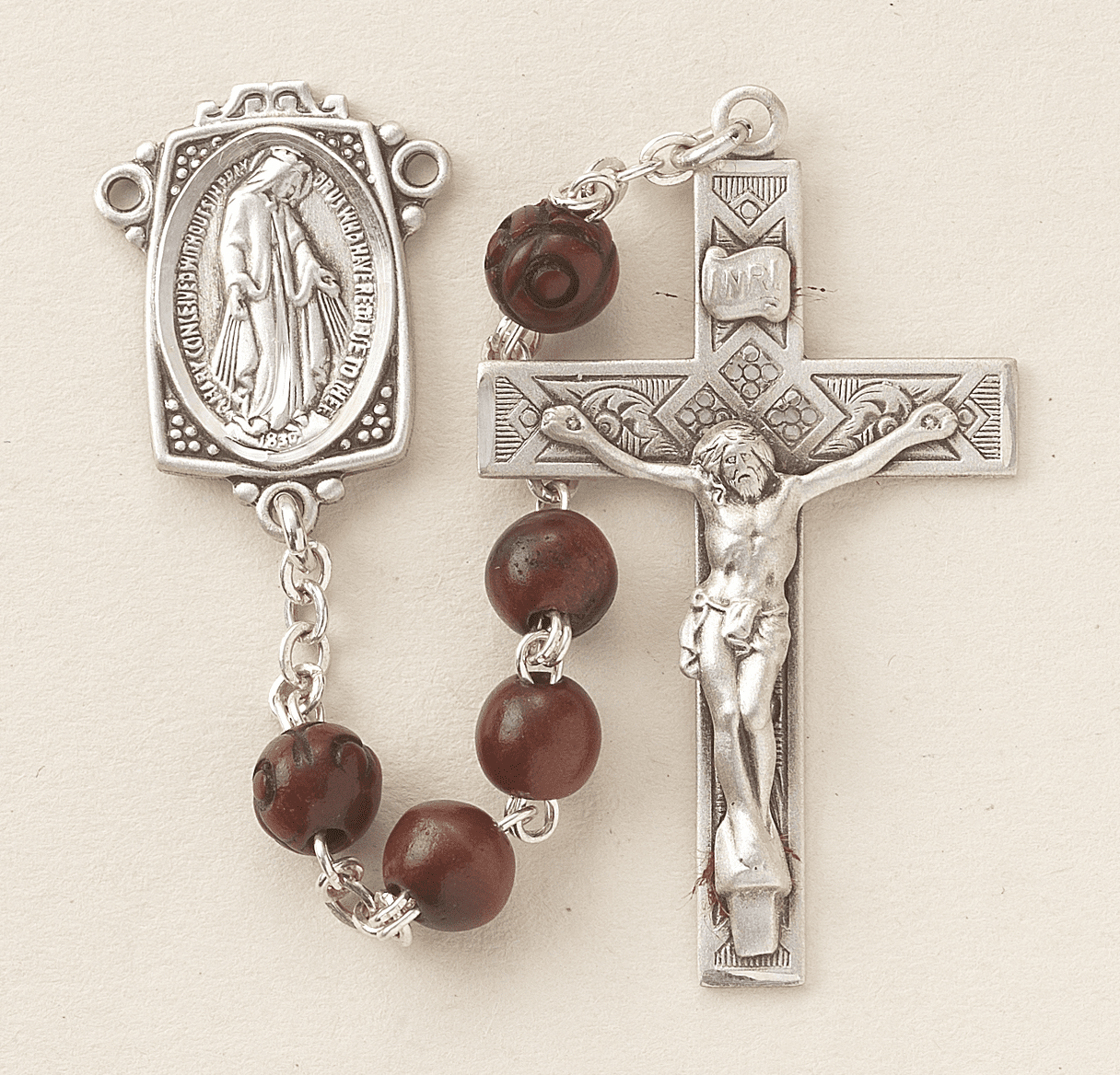 HMH Religious Maroon Coco with Carved Beads Sterling Scapular Rosary