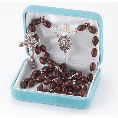 HMH Religious Maroon Oval Coco Beads with Carved Our Father Sterling Miraculous Rosary