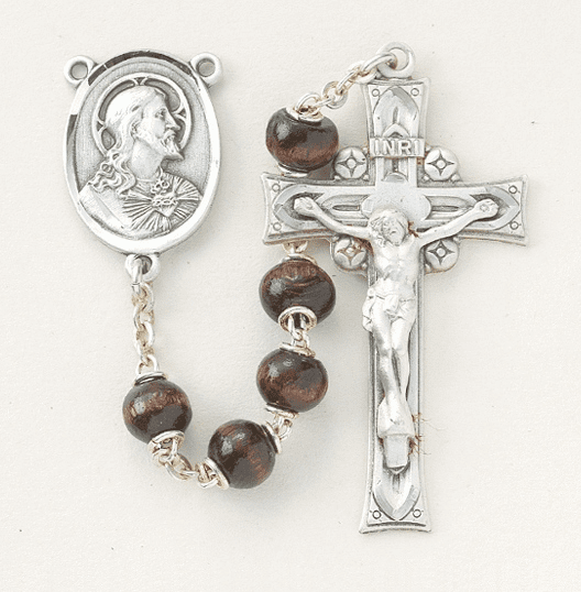 HMH Religious Maroon Round Polished Boxwood Beads Sterling Scapular Rosary